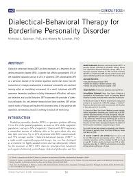 dialectical behavioral therapy for borderline personality disorder