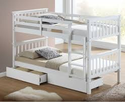 Calder White Finished Single Bunk Bed With Storage Drawers - White bunk beds uk
