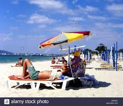 Beach Sun Umbrella Portugal Setúbal Town Estremadura Province Troia Beach Bathers