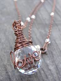 crystal ring necklace images Copper love wire wrap crystal ring necklace wire writing pendant jpg