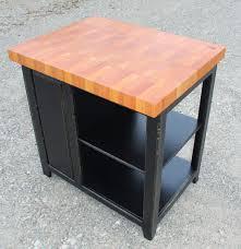 island 36 inch long black distressed mahogany butcher block w