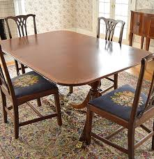 vintage duncan phyfe mahogany dining table and chippendale chairs