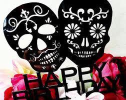 sugar skull cake topper till do us part cake topper skull cake topper