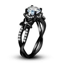 black ring 925 sterling silver vintage ring black ring for women flower style