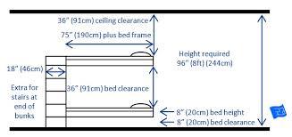 bunk bed measurements built in bunk beds