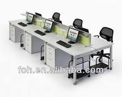 Computer Workstation Desk Simple Design White Retangelar Long Office Computer Workstation