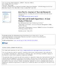 bureaux des hypoth ues tourism led growth hypothesis a pdf available