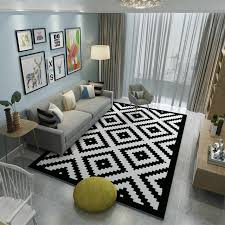 Black White Area Rug High Quality Brand Carpets Bedroom Area Rugs Washable Mat Black