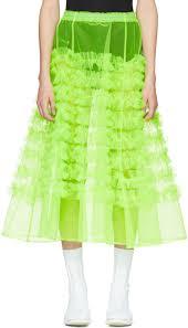green tulle molly goddard green tulle melanie ruffle skirt women