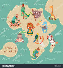 Map If Africa by Map Africa Cute Animals Vector African Stock Vector 151861223