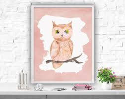 printable owl art watercolour owl etsy