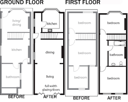 terraced house loft conversion floor plan extend and remodel terraced homes homebuilding renovating