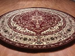 Circular Area Rugs 8 8 Traditional Medallion Burgundy Carved
