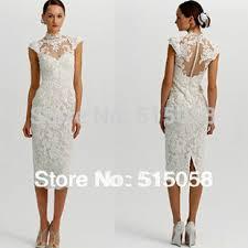 1950s style high collar cap sleeves sheer lace tea length wedding