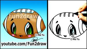 easy cartoon drawing tutorials how to draw a cute football youtube