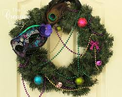 mardi gras bead wreath the creative cubby decorating for a mardi gras christmas