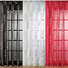 Silver Foil Curtains Voile Net Curtain Panel Silver Foil Print Chrissy White Black