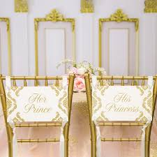 fairytale wedding decorations prince and princess chair sign set