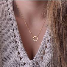necklace with circle pendant images Wholesale n602 circle pendants necklaces eternity gold plated jpg