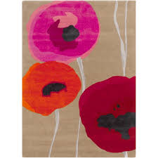 hand tufted poppies contemporary floral rug 2 u0027 x 3 u0027 free