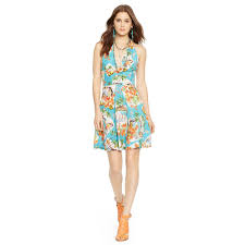 polo ralph lauren hawaiian print halter dress lyst