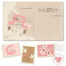timbre poste mariage carte postale de cru et de timbres poste pour la conception de