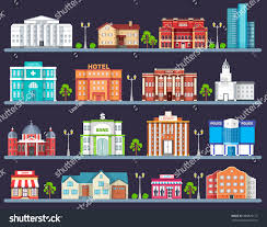 Colorful City Flat Colorful City Buildings Set Icon Stock Vector 380829172
