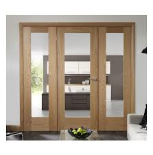 internal doors glass side panel set with oak pattern 10 clear glazed door and side
