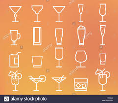 beverage drinks thin line symbol icon cocktails party outline