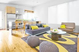 living room gray and yellow polca dot rug with round gray wool