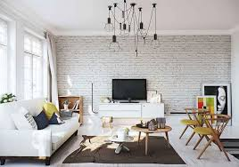 scandinavian livingroom apartments brick accent wall in the scandinavian living room