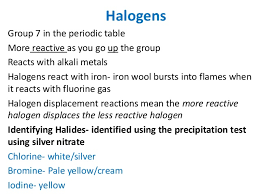 Group 7 Periodic Table Chemistry Revision Igcse