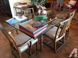 vintage glass top dining table vintage mcguire 80 glass top dining table 6 chairs rattab
