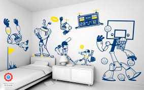 beautiful wall stickers for children s bedrooms by e glue sports robots theme kids wall decals pack for boy room