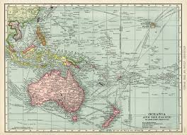 Vintage Map Oceania And Pacific Map Vintage Map Download Antique Map C S