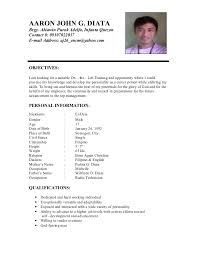 Example Of Resume For Students by Sample Of Resume With Personal Informations