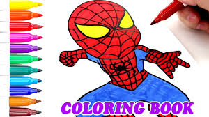 coloring book colored markers child spiderman paint colouring