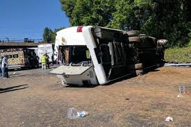 report bus with philadelphia area students overturns on i 95 in