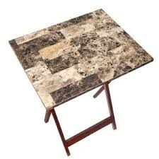 linon home decor tray table set faux marble brown linon home decor tray table set faux marble in brown 43001tilset 01