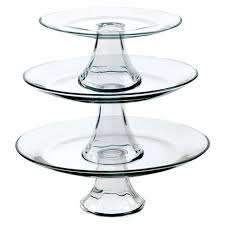 tiered serving stand anchor hocking tiered pedestal serving plates set of 3 target