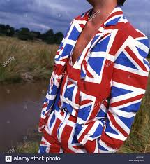 Flag Suit Closeup Of A Man Wearing A Union Jack Flag Suit In A Rural Setting