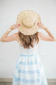 Summer Garden Party Dress Code - a blue and white eyelet dress for a garden party