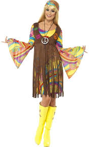 ladies 1960s groovy hippy lady fancy dress costume hippie