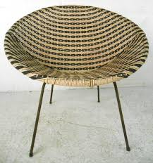 mid century modern vinyl and iron woven womb chair at 1stdibs