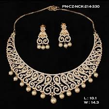 bridal choker necklace images Zercon cz with pearls bridal choker necklace set ds112 1 yr jpg