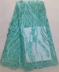 teal tulle plain style wholesale beaded net lace embroidery fabrics mint