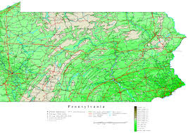 Pennsylvania Counties Map by Pennsylvania Elevation Map