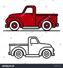 cartoon jeep drawings two cartoon vintage pickup truck outline stock vector 413727652