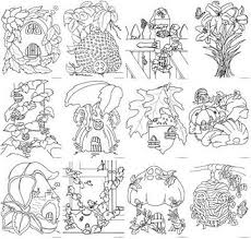 fairy house coloring pages lineart gnomes pinterest