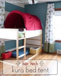 Bunk Bed With Tent At The Bottom Turn A Bunk Bed Into A Fort Mount Curtains Tent Top Lanterns